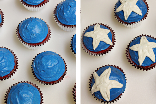Captain America Cupcakes -- layered cupcakes inspired by Captain America's shield #marvel #superhero