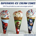 Superhero Ice Cream Cones (with free printable wrapper pattern)