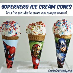 Superhero Ice Cream Cones (with free printable wrapper pattern)