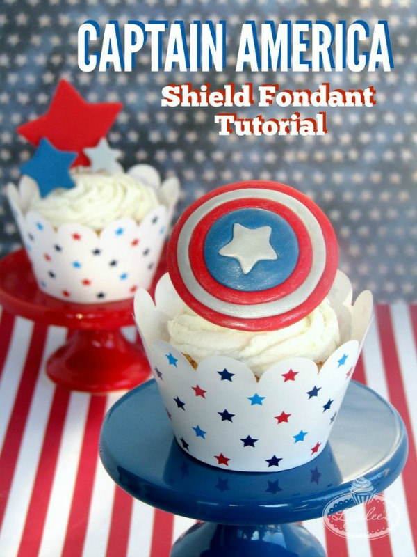 captain america fondant shield