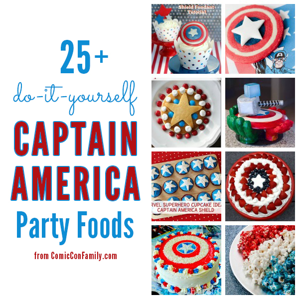 Captain America Party Foods: tutorial and recipe collection of over 25 #DIY party foods for your Captain America party or movie night