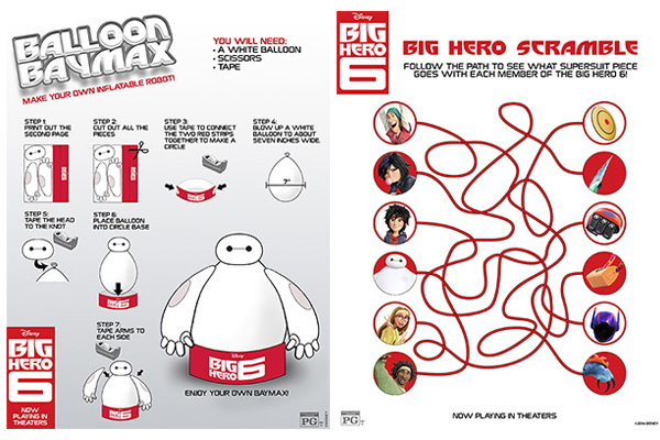 big hero 6 activity pages balloon baymax and big hero scramble
