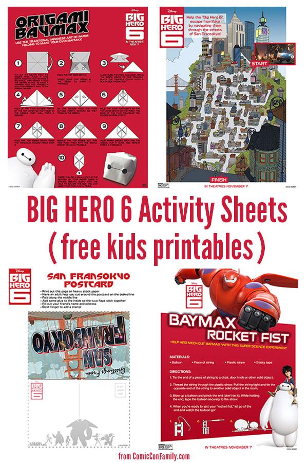 Free Kids Printables: Big Hero 6 Activity Sheets