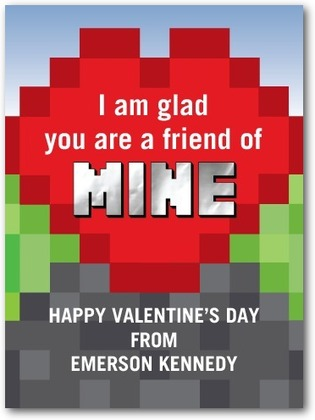 Minecraft inspired Valentine card