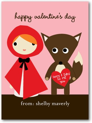 Little Riding Hood Valentine's Day Card