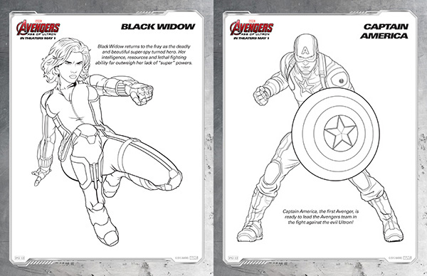 avengers coloring pages black widow and captain america - Black Widow Marvel Coloring Pages