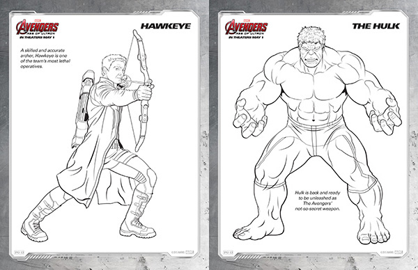 avengers coloring sheets hawkeye and the hulk - Marvel Coloring Pages