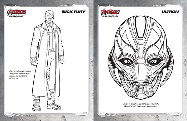 avengers coloring sheets nick fury and ultron - Black Widow Marvel Coloring Pages