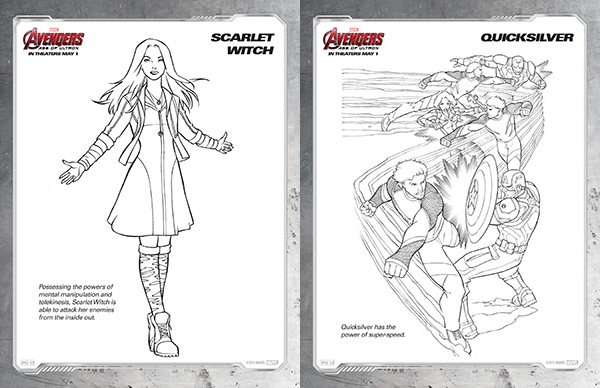 avengers coloring pages scarlet witch and quicksilver - Avengers Coloring Page