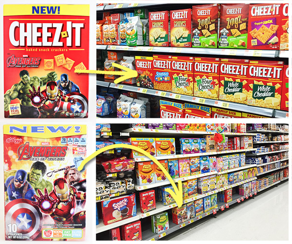 Avengers Movie Night Snacks - Kelloggs Fruit Snacks and Cheez-Its