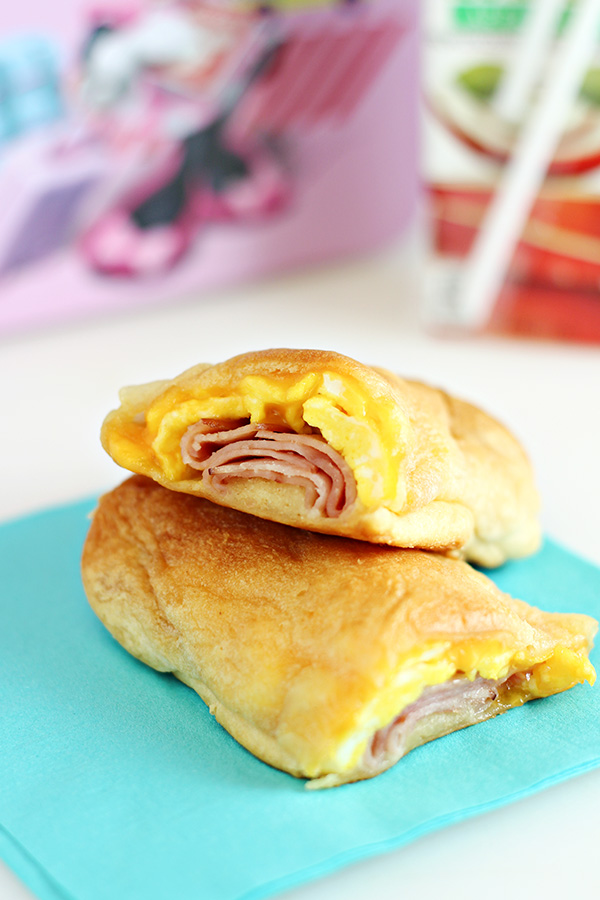 Cheesy Ham and Egg Breakfast Roll Ups