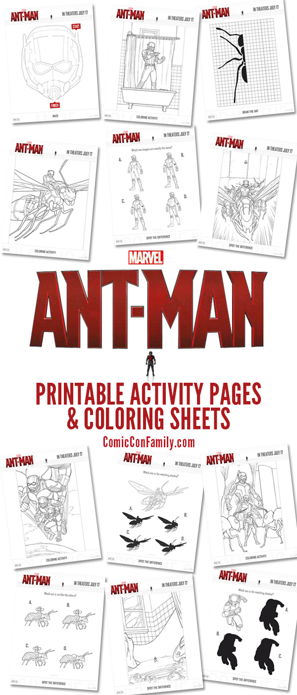 Free Kids Printables AntMan Coloring Pages And Activity Sheets