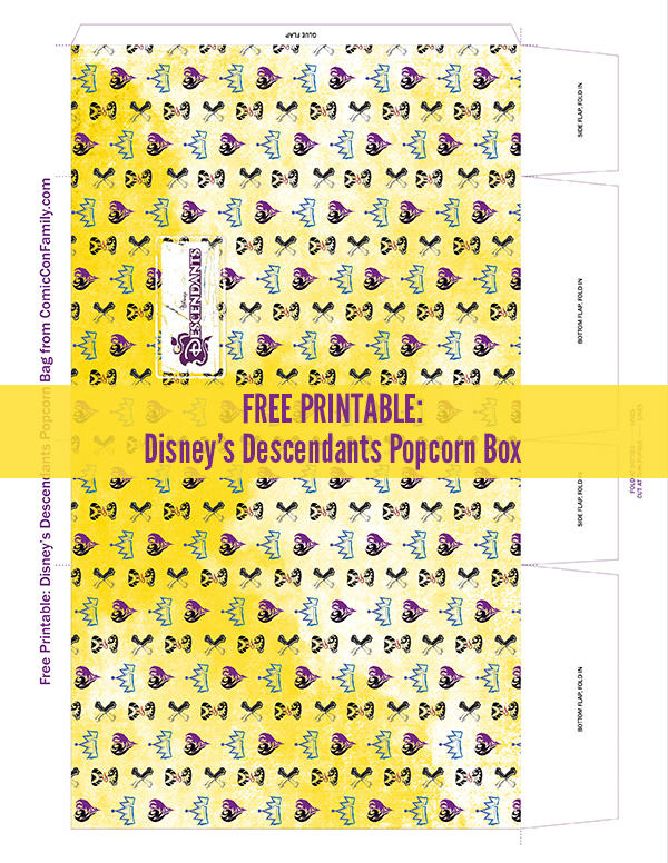Disney's Descendants Free Printable Popcorn Box from Comic Con Family