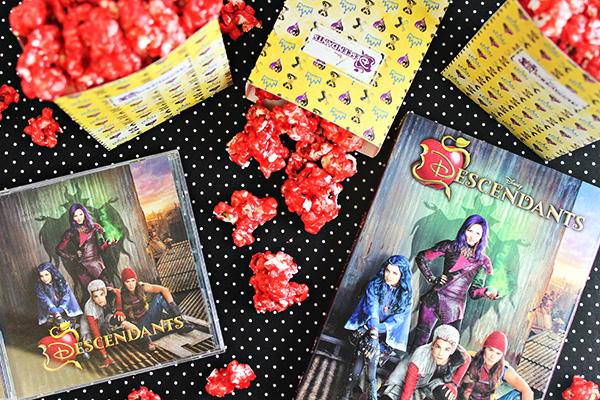 Disney Descendants Popcorn Boxes with Wicked Apple Popcorn
