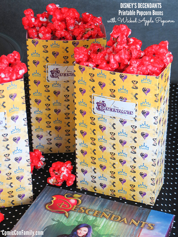 Disney's Descendants Printable Popcorn Boxes with Wicked Apple Popcorn Recipe