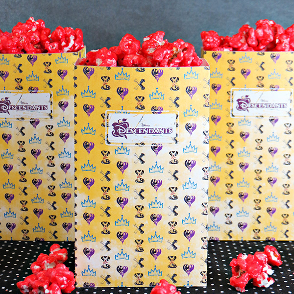 free printable descendants popcorn boxes