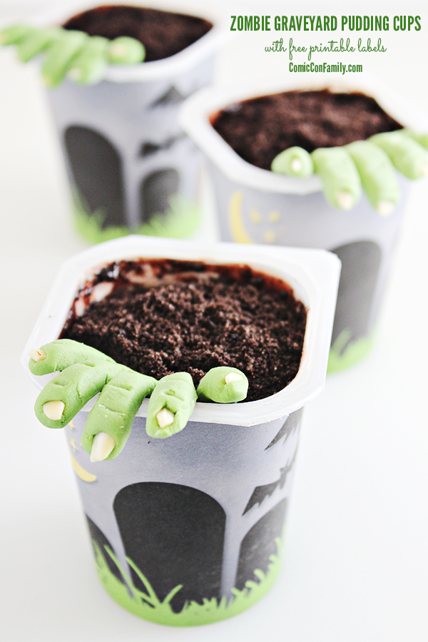 Zombie Graveyard Pudding Cups with FREE Printable Label
