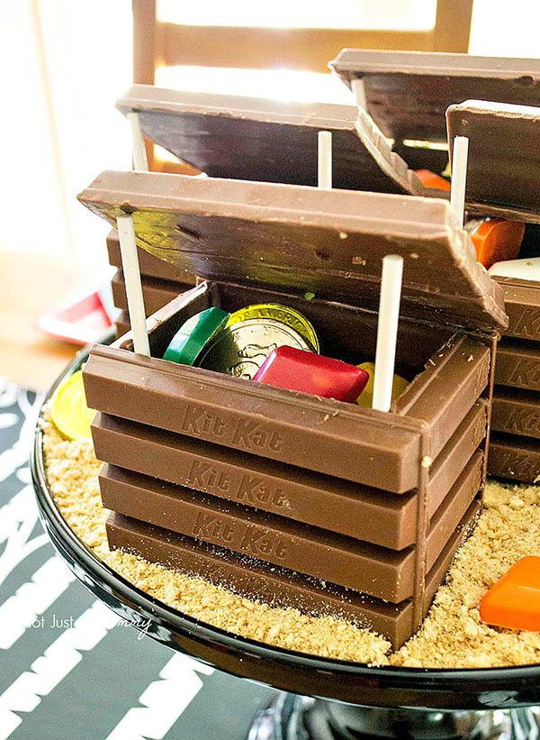 Candy Treasure Chests made from KitKats by Not Just a Mommy