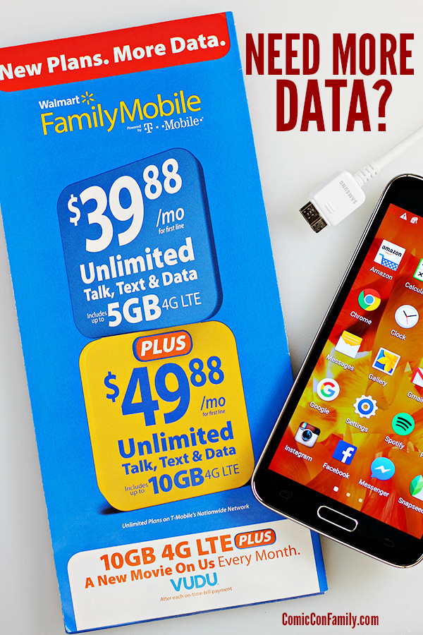 Need more data? Get all the details you need to know about the brand new Walmart Family Mobile PLUS Plan – that includes up to 10GB Data + a free VUDU movie rental every month!