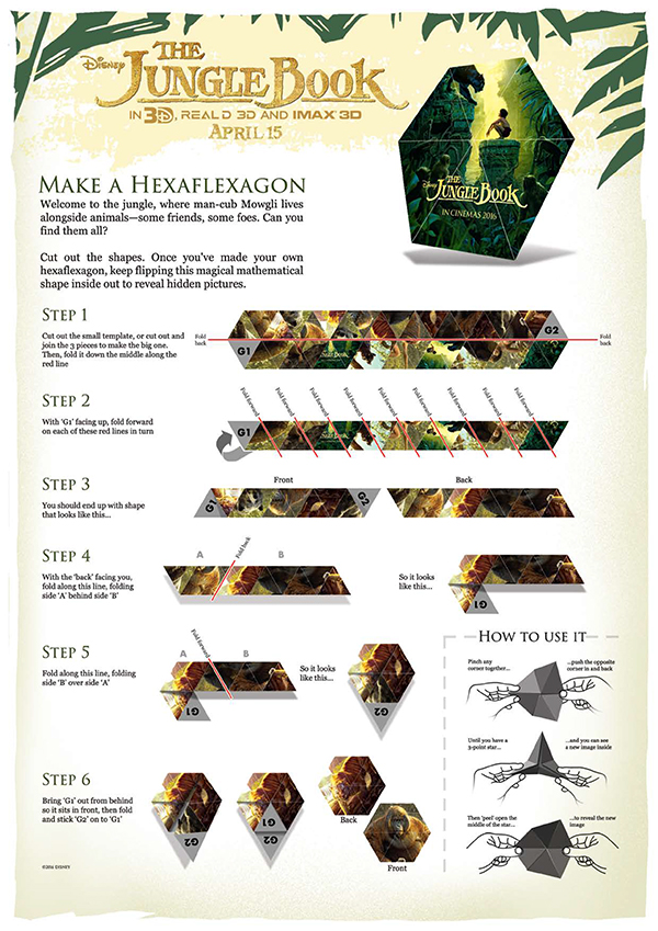 Free Printable - Disney The Jungle Book - Makes a Hexaflexgon