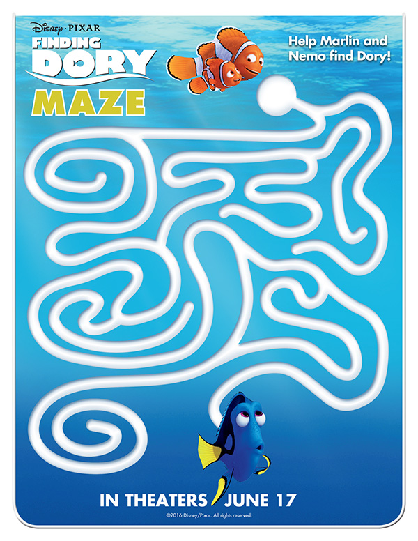 free printable finding dory maze activity sheet - Free Activity Sheets For Kids