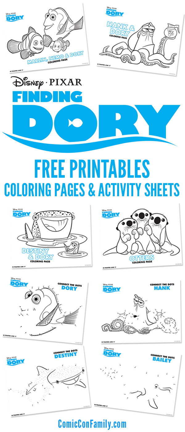 get your free printables we have disneypixar finding dory coloring pages and activity - Activity Coloring Sheets