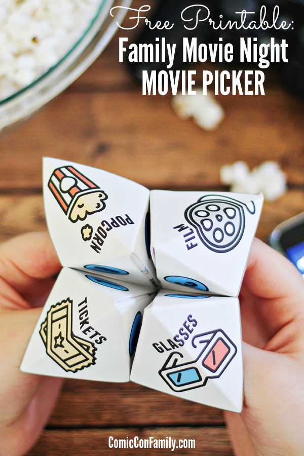 "Add even more fun to family movie night with this FREE Printable Movie Picker! Inspired by the classic ""fortune teller"" or ""cootie catcher"" games of our youth, this idea is a whole new twist!"