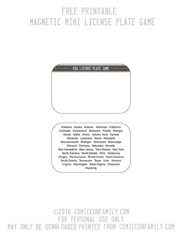 Free Printable DIY Mini License Plate Game