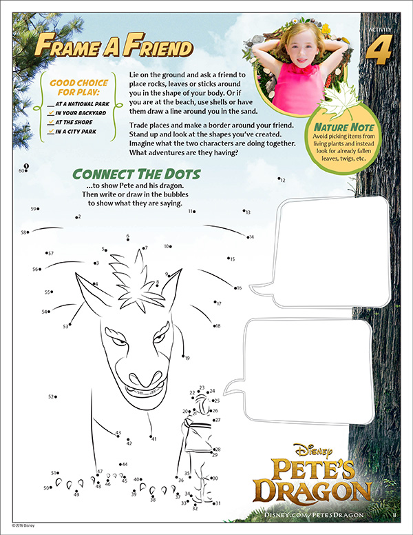 Free Printable Petes Dragon Activity Sheets - Connect the Dots