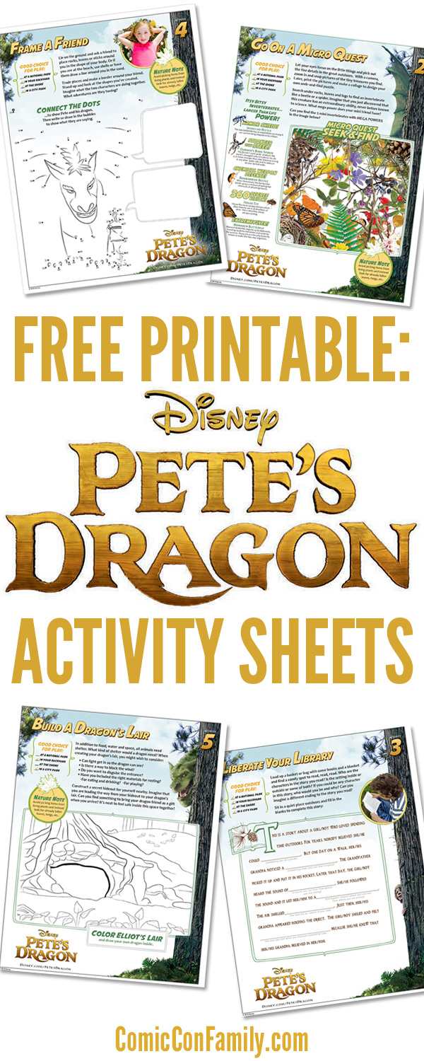 Free printables for Disney movie fans: Pete's Dragon Activity Sheets! This fun 12-page activity pack includes a coloring page, connect-the-dots, and much more. Completely free to print with each sheet focusing on the importance of imaginative play, encourage outside playtime, and protection of the environment. A great way to expanding your viewing experience of Disney's Pete's Dragon movie.