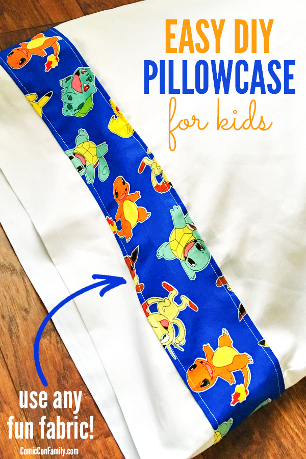 This Easy DIY Pillowcase for Kids craft tutorial needs just one pillowcase, fun fabric (like Pokemon, Star Wars, etc), & basic sewing skills for a cool pillowcase any kid will love. Frugal gift idea too!