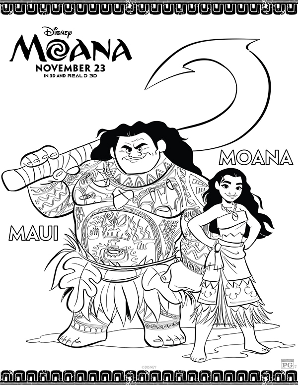 moana and maui coloring pages Free Printables: Disney Moana Coloring Pages   Comic Con Family moana and maui coloring pages