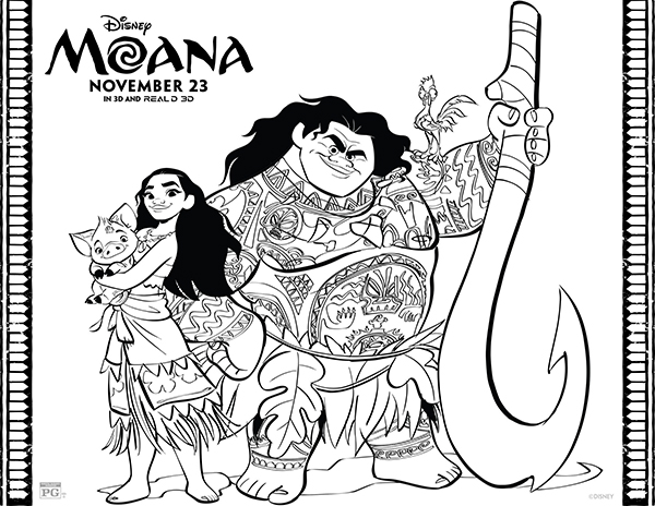 free printables disney moana coloring pages