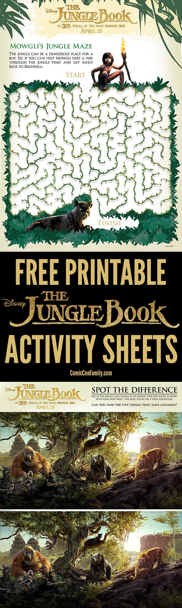 Free Printable Disney The Jungle Book Activity Sheets