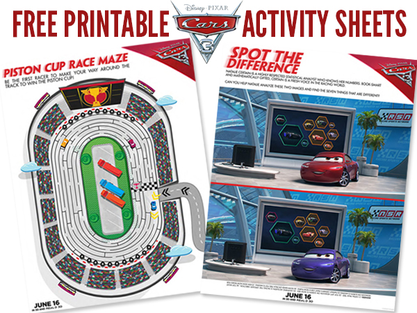 Cars 3 Free Printable Activity Sheets