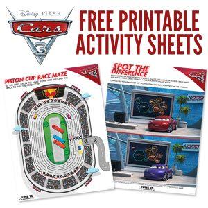 Free Printables: Cars 3 Activity Sheets