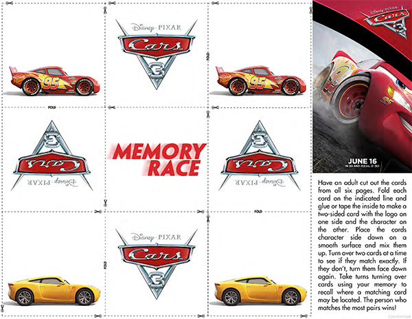 Free Printable: Cars 3 Memory Card Game
