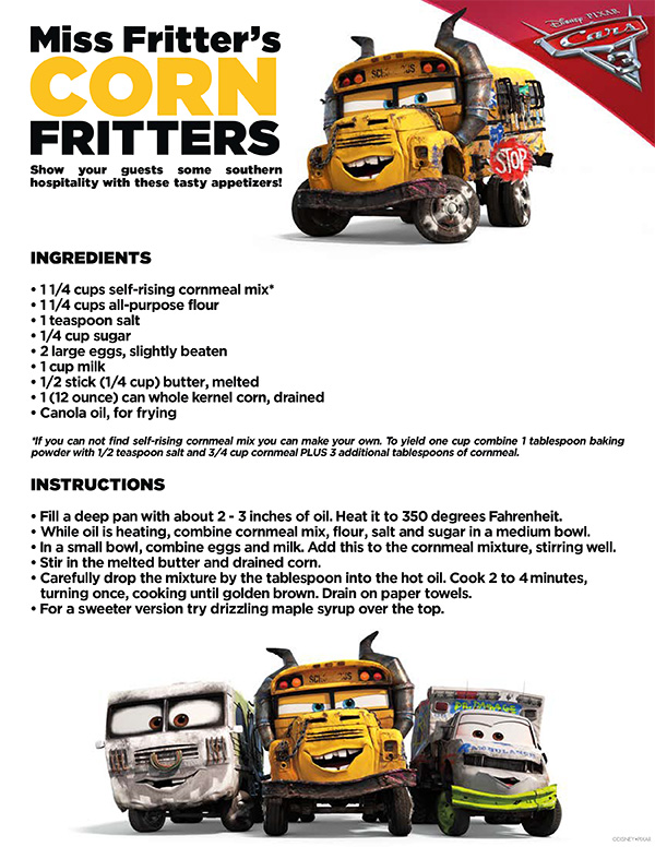 Free Printable - Cars 3 Miss Fritters Corn Fritters Recipe