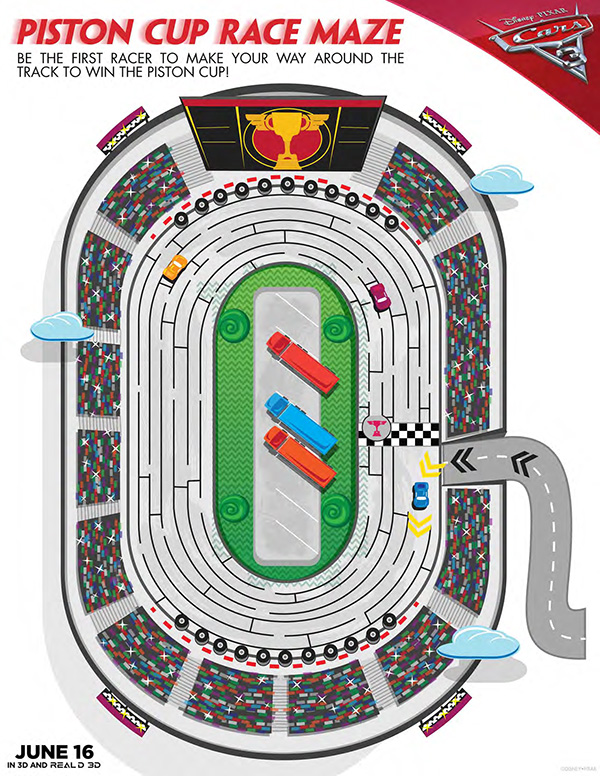 Free Printable - Cars 3 Piston Cup Race Maze