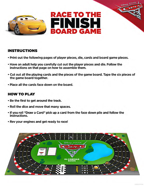 Free Printable - Cars 3 Race to the Finish Board Game