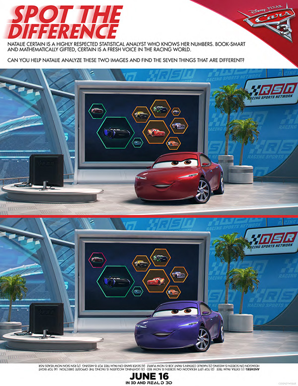 Free Printable - Cars 3 Spot the Difference