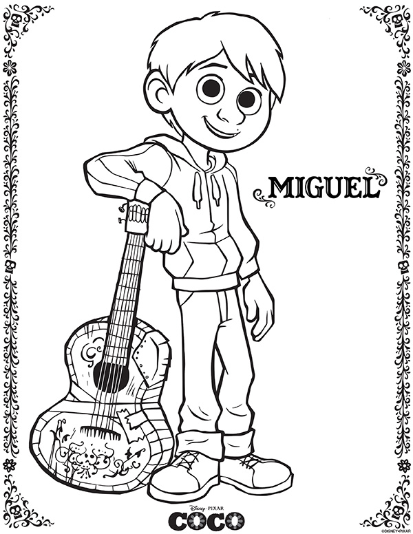 Disney Pixar Coco Coloring Sheets - Miguel