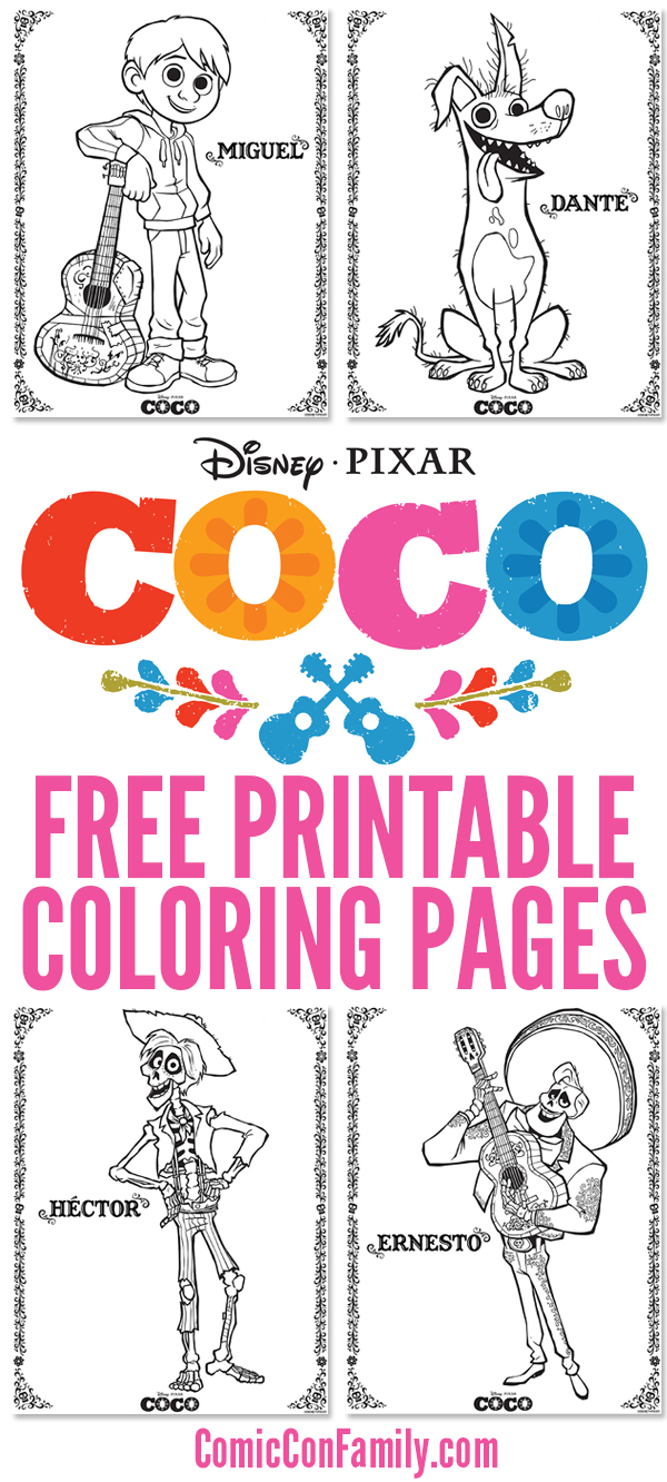 Free Printables: Disney/Pixar COCO Coloring Pages - Comic Con Family