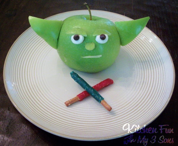 Yoda Apple Snack by Kitchen Fun with My 3 Sons