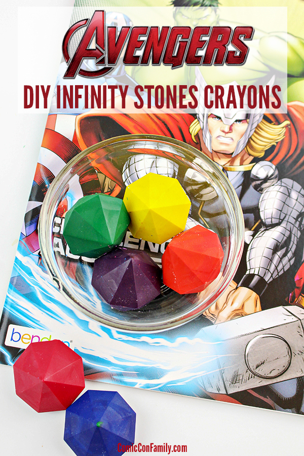 How to make DIY Avengers Infinity Stones Crayons! This tutorial will show you how to create gem shaped crayons, in each of the Infinity Stone colors. Fun for Avengers fans to love coloring all their favorite characters or for giving as a gift with coloring books or coloring pages.