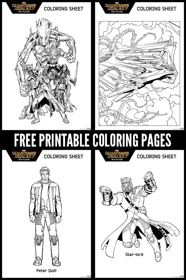 Free Printable Marvel Guardians of the Galaxy Coloring Pages! Includes all of our favorite Guardians together, Star-Lord, Peter Quill, and The Milano Space Ship. - Groot, Rocket, Star-Lord, Gamora, and Drax. Even the Milano Space Ship! Print for instant fun for kids!
