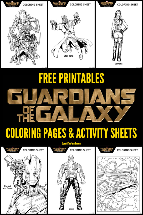 Free Printable Marvel Guardians of the Galaxy Coloring Pages and Activity Sheets! Includes 12 coloring pages with our favorite Guardians - Groot, Rocket, Star-Lord, Gamora, and Drax. Even the Milano Space Ship! There is also games and activity sheets, such as a space maze, memory card game, and more. Fun & frugal fun for kids!