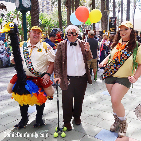 Disney UP Cosplay - Carl Fredricksen and Russell and Kevin - at WonderCon 2018